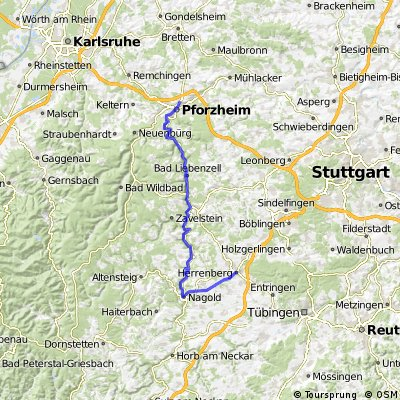 Herrenberg to Pforzheim Route