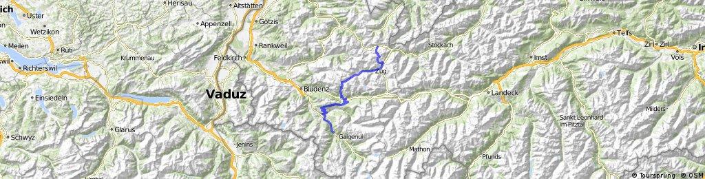 (1. Etappe Como-See) Hochkrumbach, Lech, Formarinsee, Dalaas, Kristberg, Bartholomäberg, Schruns