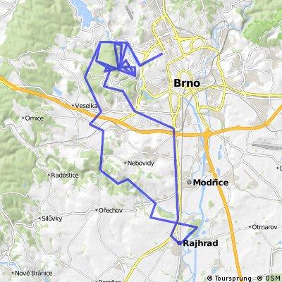 Rajhrad - Brno Kohoutovice - Jundrovský kopeček 2,5x - BS Bike - údolí Oddechu - Troubsko - údolí Bobravy - Rajhrad