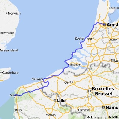 LF1 Amsterdam centrum naar Boulogne sur Mer via Brugge