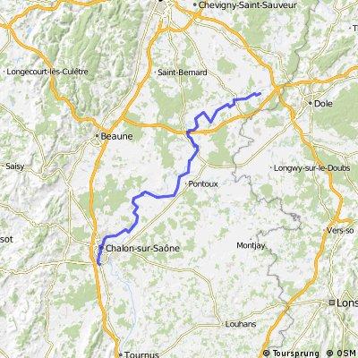 Dag 2 Laperrière-sur-Saône naar Logis Les Charmilles Chalon