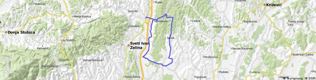Map 10 — Komin – Radoišće – Salnik – Rakovec – Krečaves – Donje Polonje – Komin (brown route)