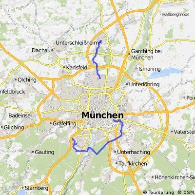 München von Ost nach Süd und von Norden nach Unterschleißheim
