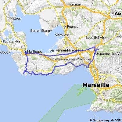 (Copie) Carro - Martigues - Les Pennes Mirabeau - Col de la Grande Etoile - Estaque - Carry - Sausset - Carro