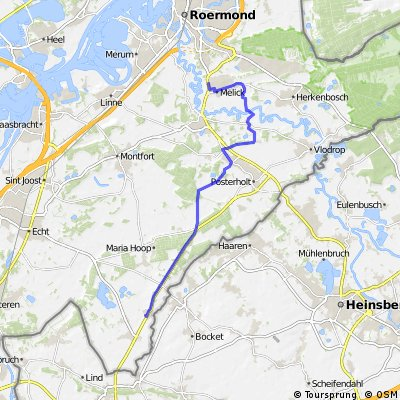 Route via fietsbrug naar Beatrixlaan Melick