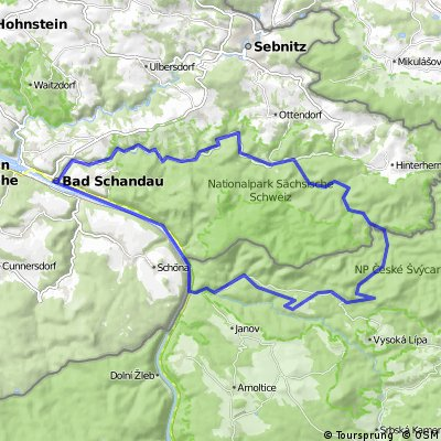 Dresden - Pardubice na těžko - den 4 Hřensko - okruh přes Bad Schandau