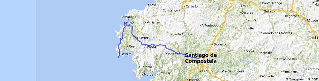 Santiago Muxia Finisterre Bikemap Your Bike Routes