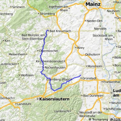 Bad Kreuznach nach Grünstadt über Alsenborn