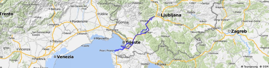 Brezovica - Trst - Debeli rtič - slovenska obala - Portorož - Hrvatini - Ankaran - Postojna - Brezovica