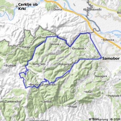Map 6 — Samobor – Bregana – Grdanjci – Koretići – Jelenići – Dragonoš – Šipački Breg – Smerovišće (red route)