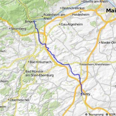 Route Alzey - Bingen 40 km