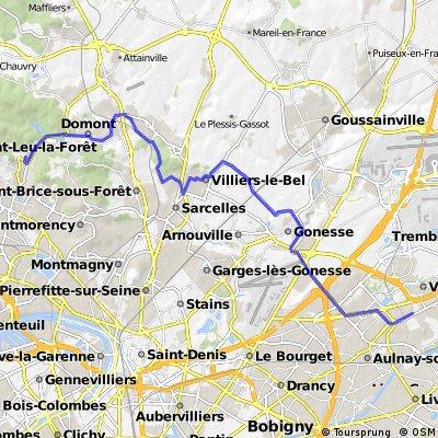 Montlignon CGR Sevran via Ezanville 30,6km
