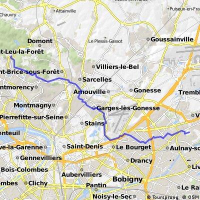 Montlignon CGR Sevran via N125 Garges 28,2km h317
