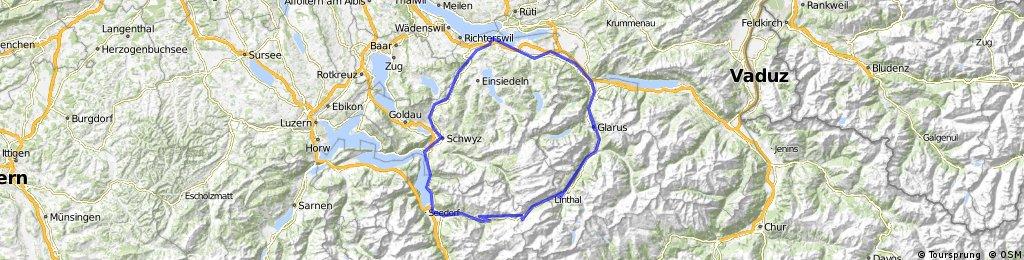 Klausenpass (1948m): Hurden - Glarus - Klausenpass -Altdorf - Schwyz - Sattel - Hurden (235Km, 2760hm)