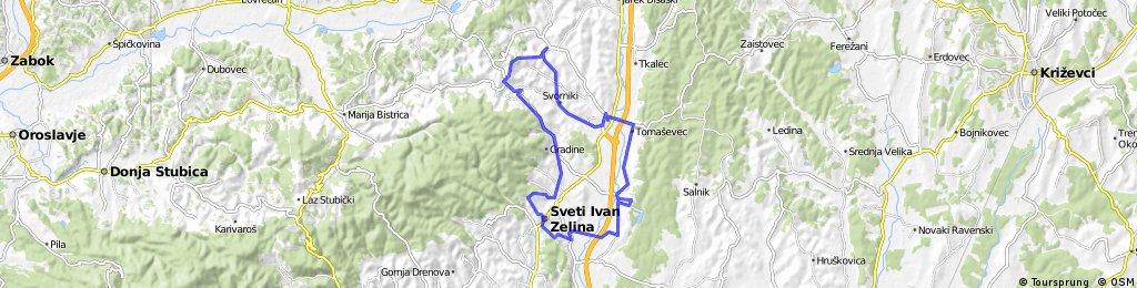 Map 10 — Sv. Ivan Zelina – Donje i Gornje Orešje – Bedenica – Komin – Novo Mjesto – Sv. Ivan Zelina (red route)