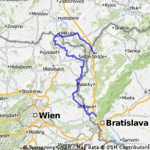Lamač - Kamp-Thaya-March Radroute - Mikulov - Lednice - Břeclav - Kúty