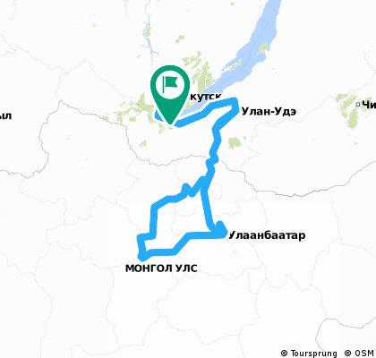 Rosja Mongolia - trasa przejechana
