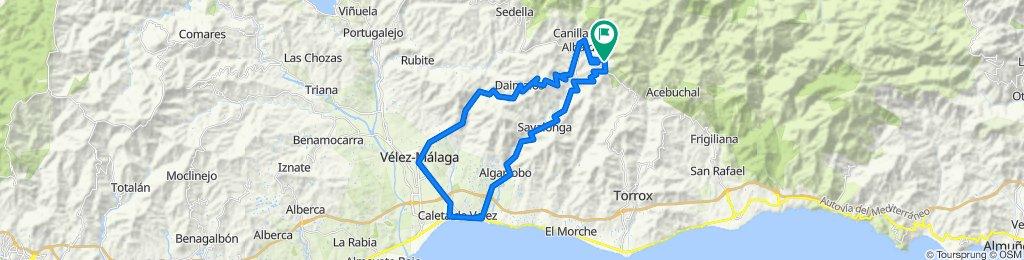 Racefiets bergroute Cómpeta-Corumbela-Arenas-Velez Málaga-Algarrobo-Cómpeta