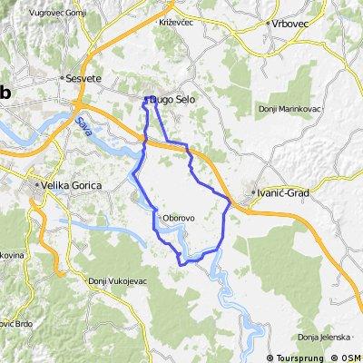 Map 9 — Dugo Selo – Rugvica – Oborovo – Veleševec – L. Dubrovčak – P. Bregi – Ježevo – Dugo Selo (brown route)
