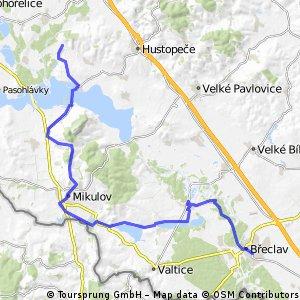 Pouzdřany - Nové Mlýny - Mikulov - Lednice - Břeclav