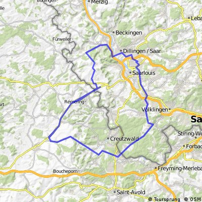 Ford Warndt-Frankreich Permanente - 78 km Strecke der Ford Radsportgruppe Saarlouis e.V.
