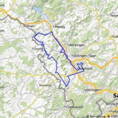 Ford Saargau Permanente - 74 km Strecke der Ford Radsportgruppe Saarlouis e.V