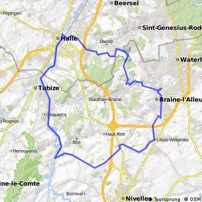 Boucle Braine-L'Alleud - Virginal - Hal -Dworp