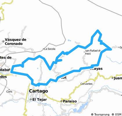 Tres Rios- Llano Grande - Tierra Blanca - Irazú - Turrialba