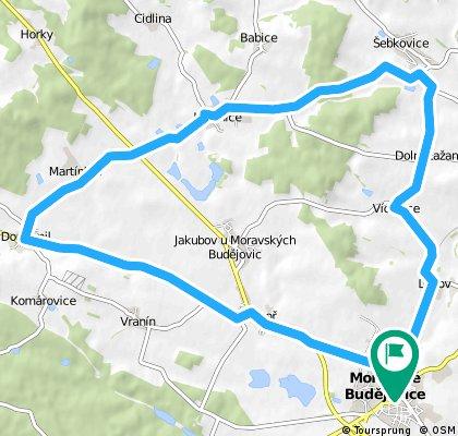 Moravské Budějovice - Litohoř - Domamil - Martínkov - Lesonice - Horní Lažany - Šebkovice - Dolní Lažany - Vícenice - Lukov - Moravské Budějovice