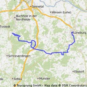 tur von lüneburg über Glüsingen nach undelo