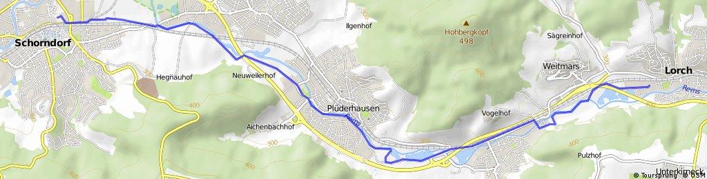Lorch - Schorndorf   kurze Route zum Biergarten