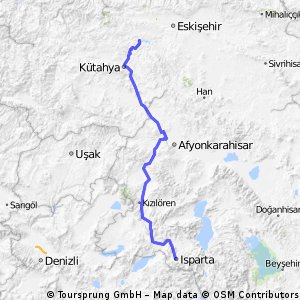 Cycling routes and bike maps in and around Ktahya Province