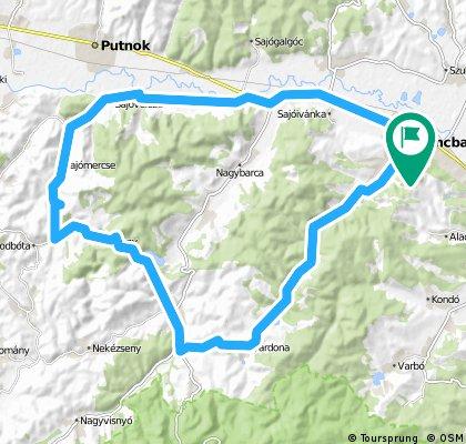 Kazincbarcika-Sajóvelezd-Lázbérci víztározó-Tardona-Kazincbarcika