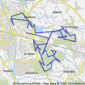 MTB route Bakelsebos Zandbos en Vlierdensbos