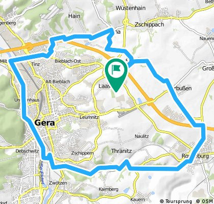 Radrundkurs Gera-Ronneburg-Gessental-Gera  (Videoversion bei Youtube)