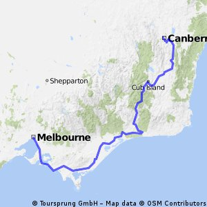 Canberra to Melbourne via the Snowy River
