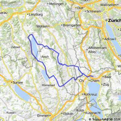 Hallwilersee: Cham - Meisterschwanden - Beinwil am See - Hitzkirch - Hohenrain - Sins - Cham