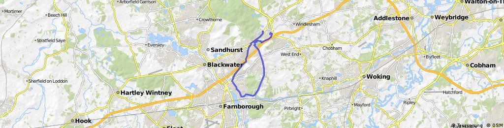 Bagshot to Deepcut and Frimley.