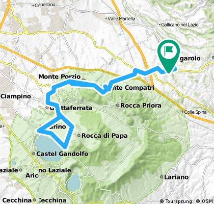 Zagarolo - San Cesareo - Montecompatri - Monteporzio - Frascati - Grottaferrata - Marino - Parte di Via dei Laghi - Via Barozze - Campi D'Annibale - e ritorno per la stessa strada