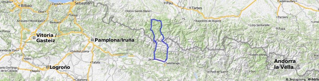 Sabiñanigo, Jaca, Canfranc, SOMPORT,, Urdos, Sarrance, Escot, MARIE BLANQUE, Bielle, Laruns, PORTALET, Bubal, Biescas, Sabiñanigo. 187 KM.