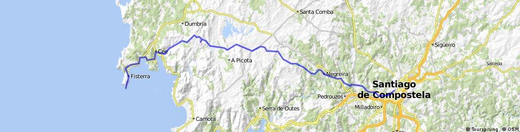 Von Santiago de Compostela nach Fisterra 87Km