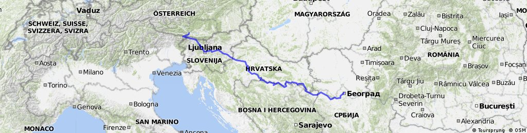 Villach - Ljubljana - Belgrad (Sava)