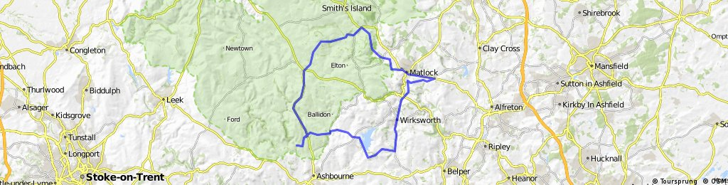 Thorpe - Youlgreave - Darley Bridge - Matlock - Riber - Cromford - Wirksworth - Kirk Ireton - Carsington Water - Tissington - Thorpe