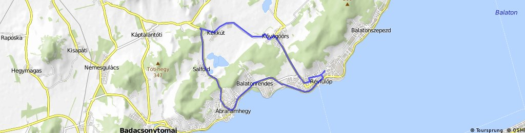 Révfülöp - Kékkút - Salföld - Ábrahámhegy - Révfülöp