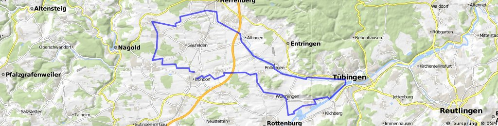 Jettingen - Herrenberg -Tübingen 61 km