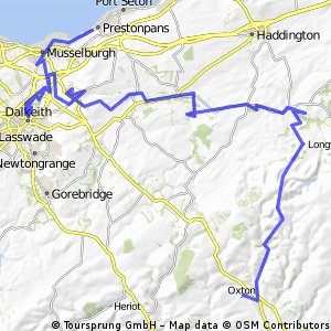 Oxton to Prestonpans challenge. Dropped off in Oxton- then back roads to Gifford then on to East Saulton via railway and then through Dalkeith Manor, River Esk