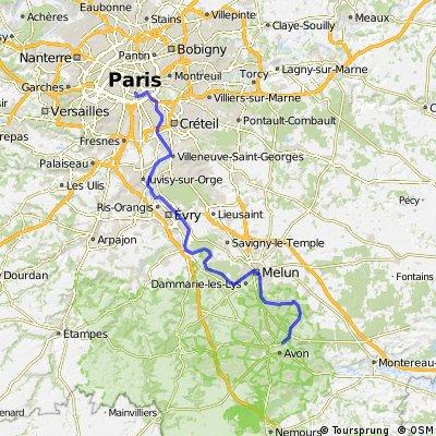 Paris - Fontainebleau (sortir de Paris en vélo)