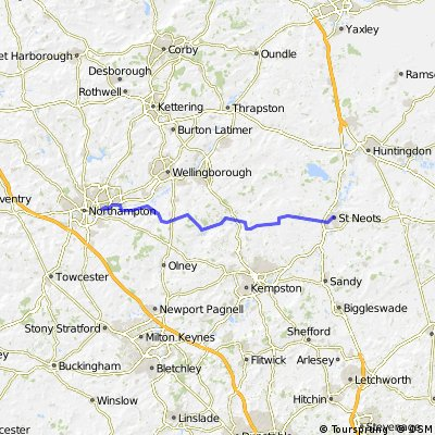 Northampton to St Neots and back (the same way)