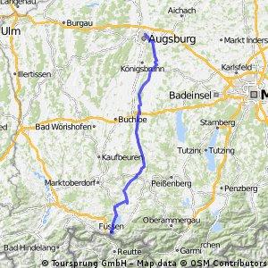 Augsburg bis Füssen