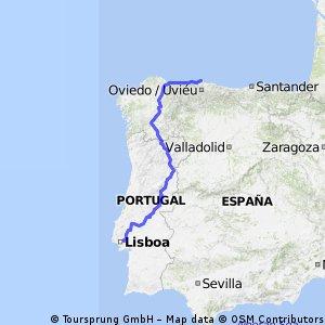 Gijon to Lisboa Route 1